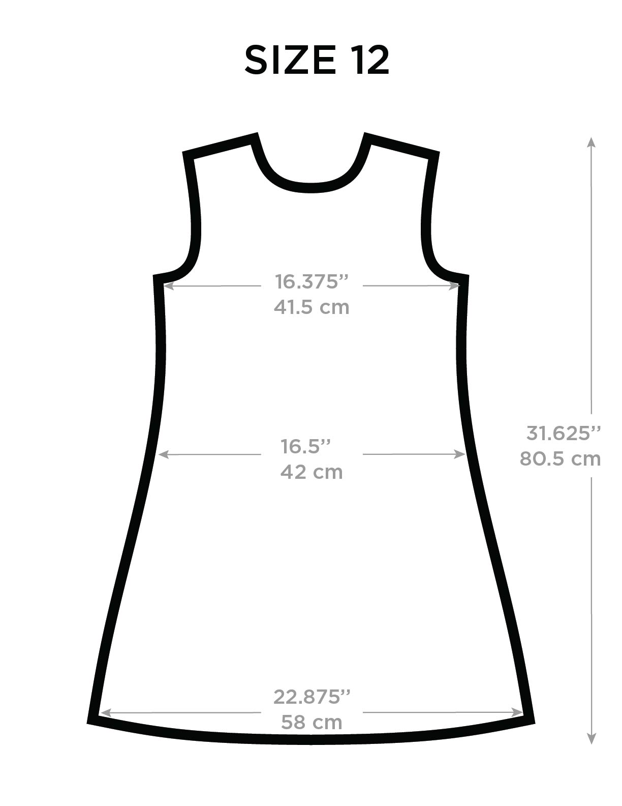 Children's Body Measurements and Garment Sizes All measurements in inches. Click here for a program that will help you convert these inch measurements to metric equivalents.. For a chart showing the amount of fitting ease to add to these measurements, click here.